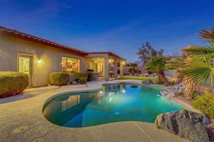 Epic Mountain Views! Massive Gold Canyon Home with Heated Pool and Firepit!