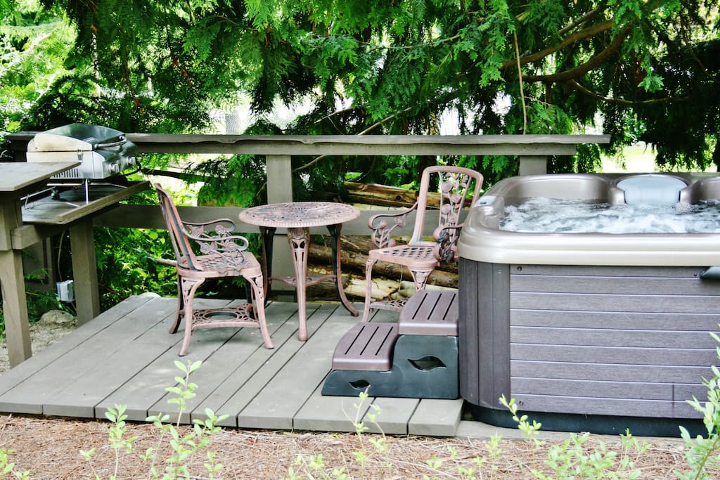 Forest setting hot tub
