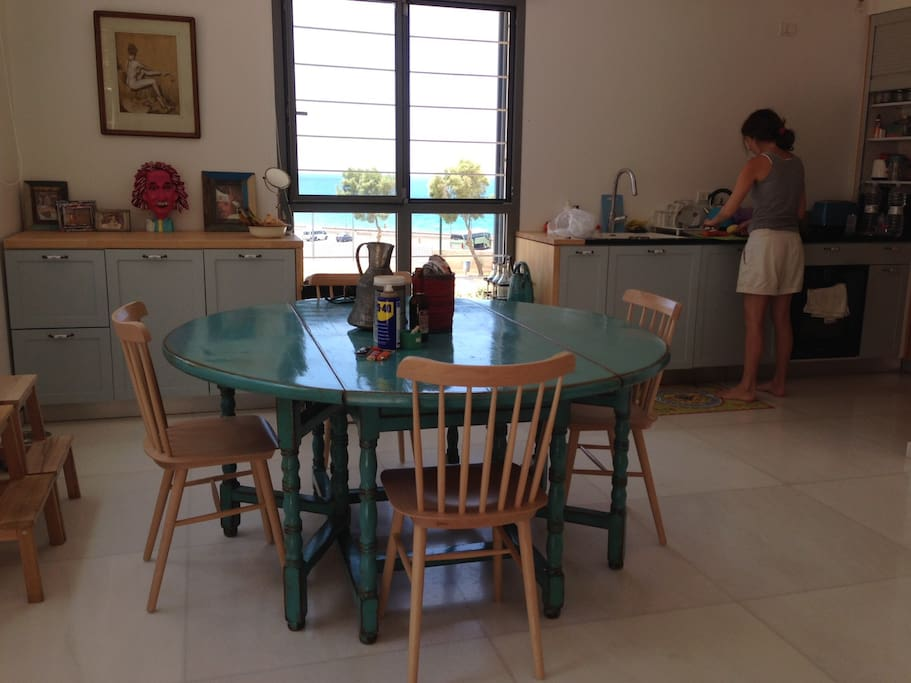 inside dining table and kitchen