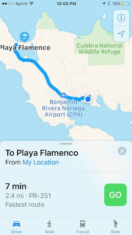 Distance to Flamenco Beach