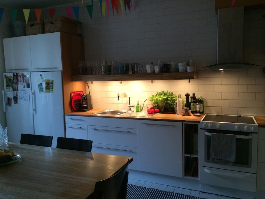 Newly renovated kitchen with stove/oven, dishwasher, fridge/freezer. Well equppied with kitchen supplies and pottery.