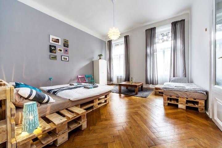Charming, huge apartment in centre, 10 ppl, 3 room - Praga