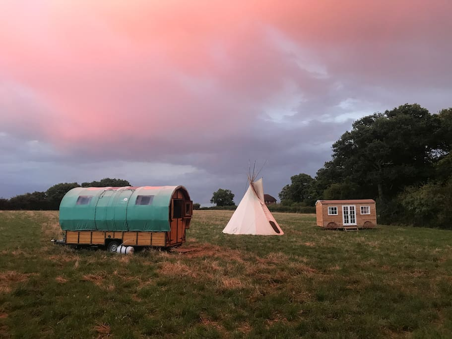 Here are the options for rent! We have 5 Tipis, Shepherd's Hut and A Gypsy Wagon.