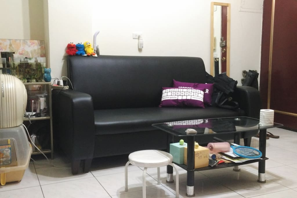 Sofa and table (and fish and HsiaoMi's litter tray) in living room / 客廳沙發、茶几及魚和貓砂盆
