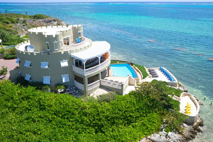 Cayman Castle: Stunning Waterfront Home with Elevated Views, Infinity Pool and Large Private Beach