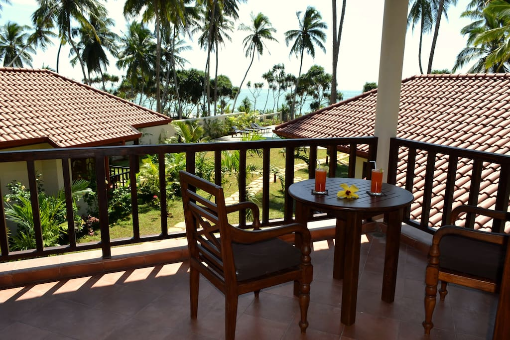 each bungalow has a terrace or a balcony