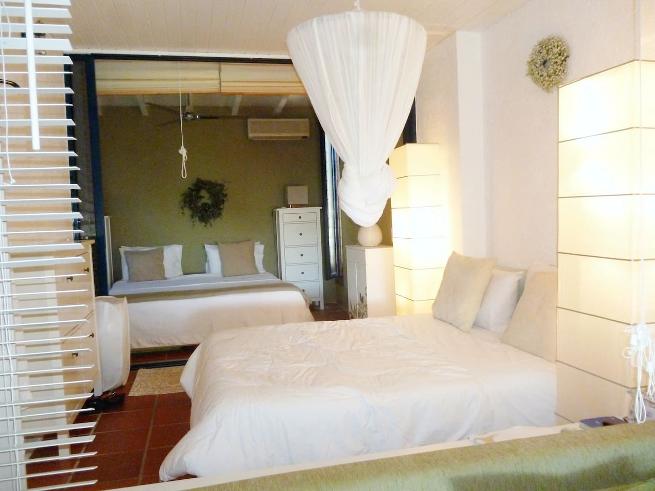 View of the bedrooms (seperated by sliding doors)