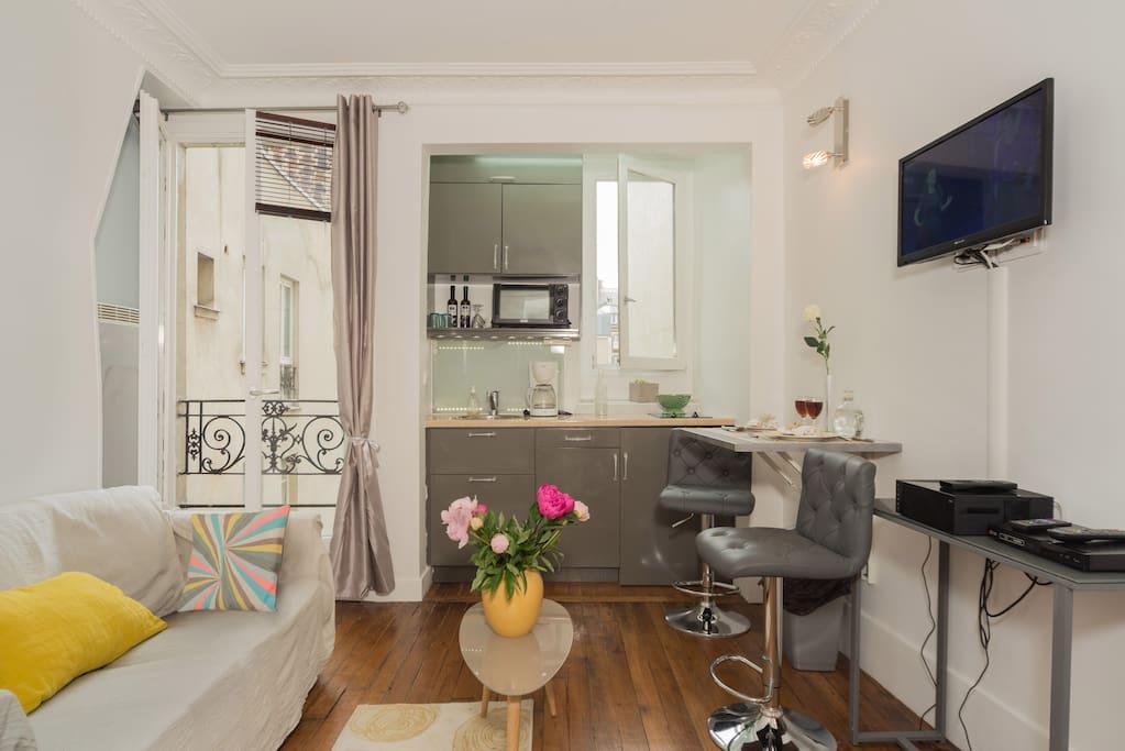 C'est un salon de 12 m² qui a 1 fenêtre double vitrage donnant sur cour . Cette pièce est équipée avec : un canapé lit double, une table basse, la télévision, un lecteur DVD, des étagères, du parquet.