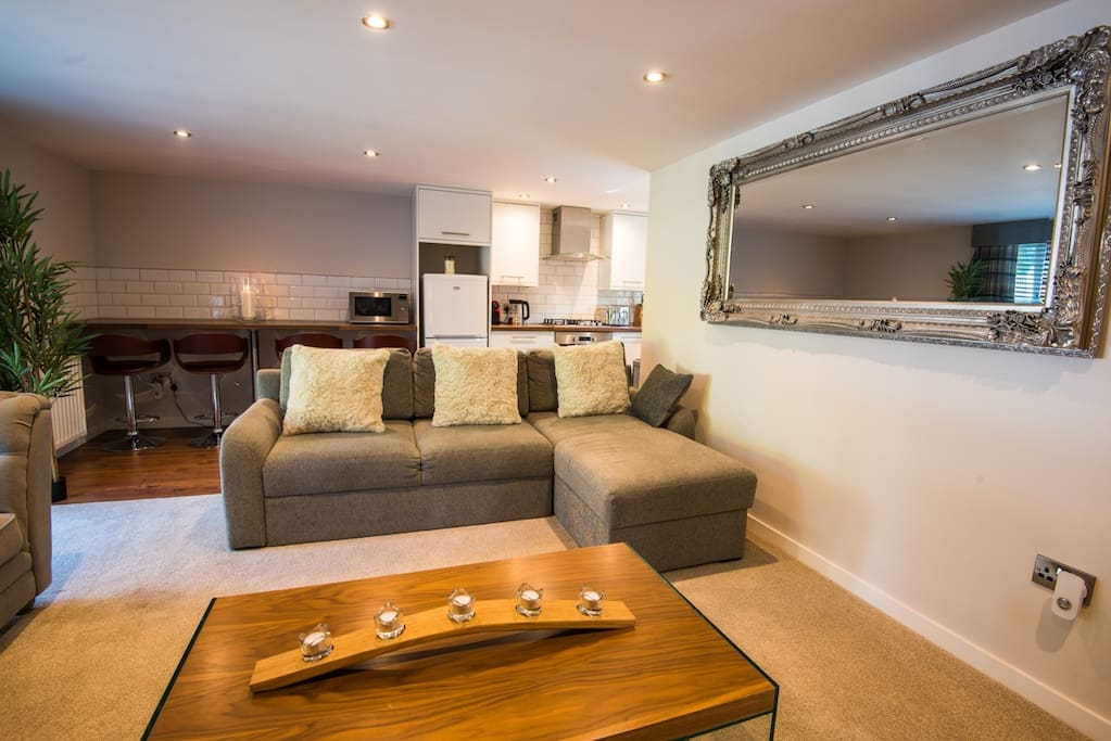 Quality furnishings including a comfortable sofa double sofa bed
