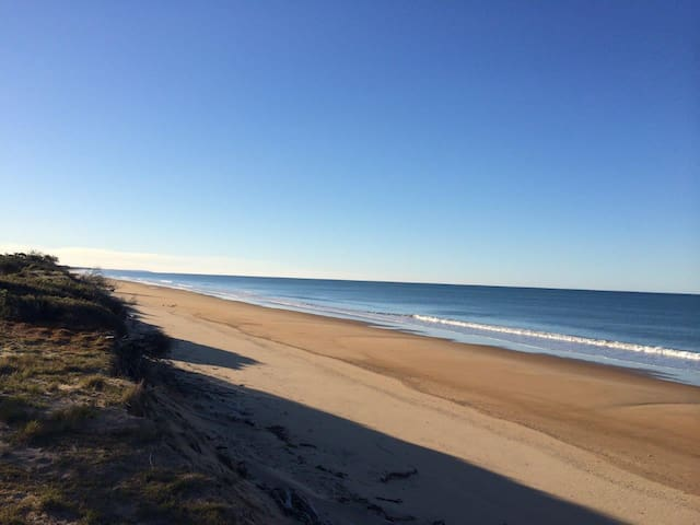 Rules Beach stretches for miles: great walks, fishing, 4wd'ing. Turtles nest at night, whales offshore in season.