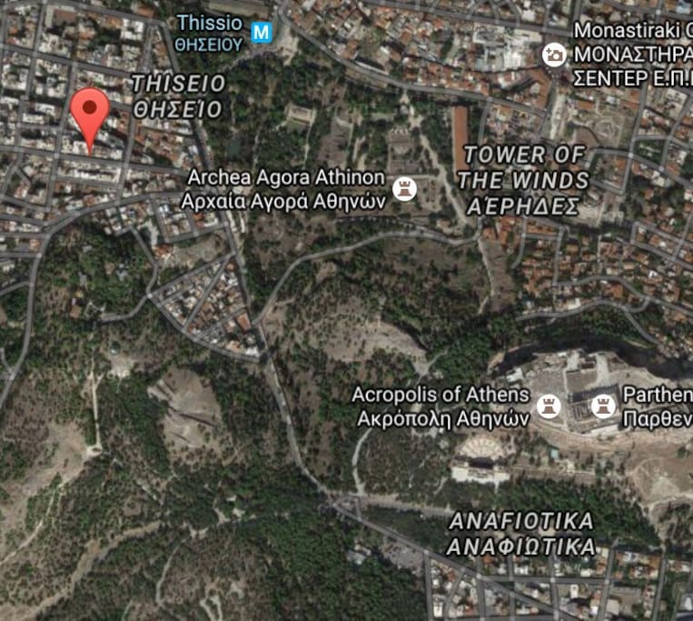 Look how close you are to Acropolis and the ancient market of Athens!!!! And the Metro/subway Thiseio