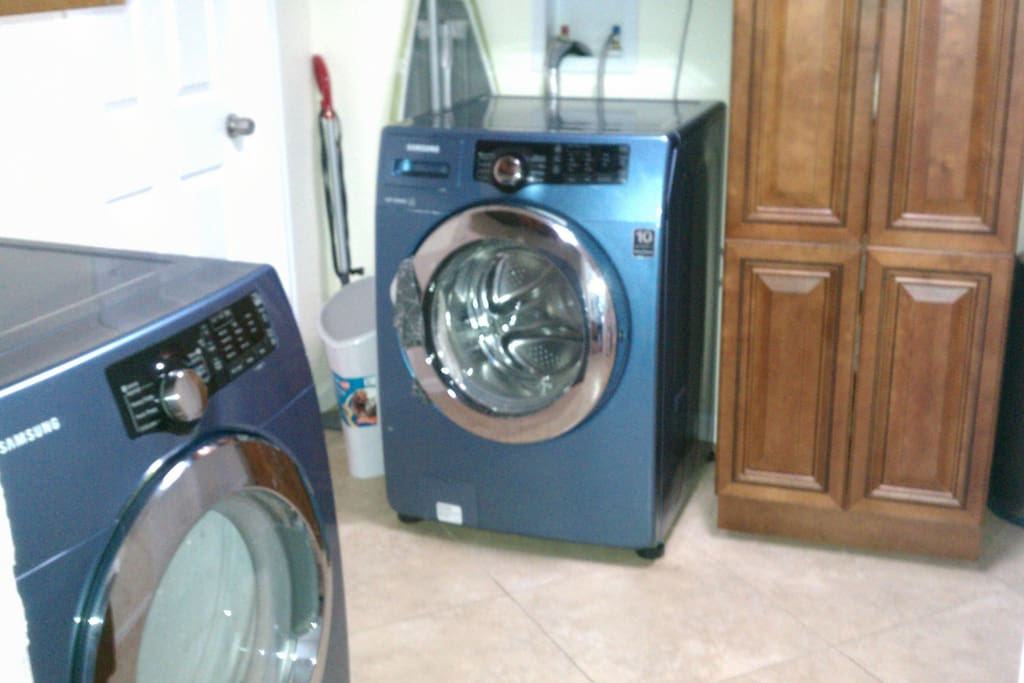 Front loading washer, electric dryer and pantry
