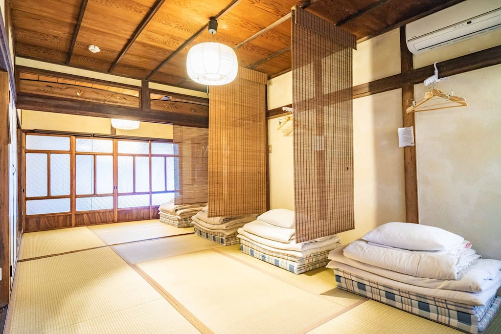 Each room can comfortably sleep four people on Japanese futons.