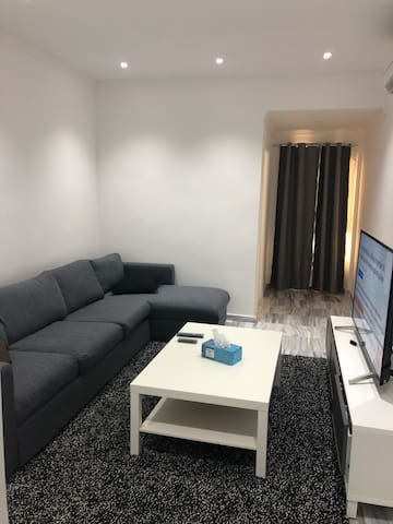 Living Room with one couch bed & Toilet