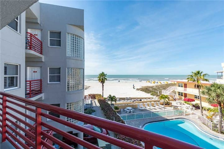 Incredibly Furnished, Great Gulf  Beach Views from Updated 1500 sq ft Beach Home - Across From Johns Pass Village! - Free Wifi - #203 Crimson Condos