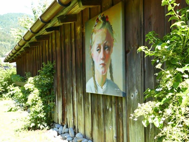 Herlinde Portrait im Gartenwohnzimmer. Gemalt von Hans Strobl.