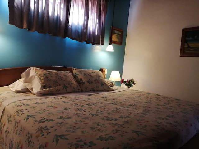 Master bedroom with king bed and AC.
