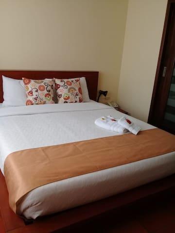 Habitación sencilla o matrimonial, muy cómoda, clara, con todos los servicios, wifi, tvcable, tranquila, acogedora.