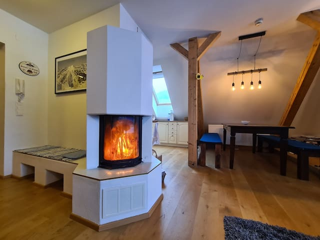 The fireplace and tilted stove give thermic radiation - find places around it in the reading chair, couch or simply on the cozy deep carpet. The apartment features real-wood oak floor, and is decorated with memorabilia from our worldwide ski travels.