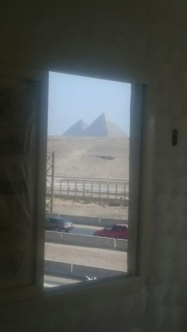 pyramids view from the window