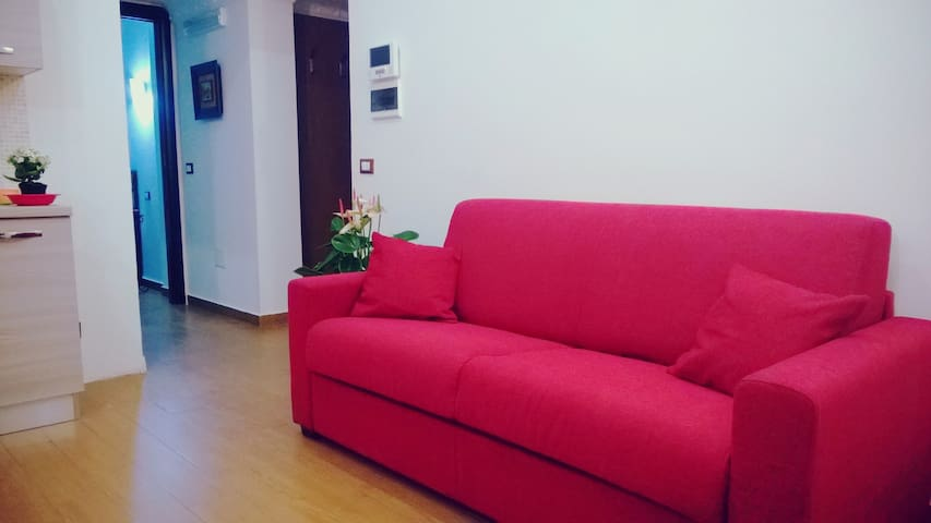 Living room with double sofa bed and kitchenette