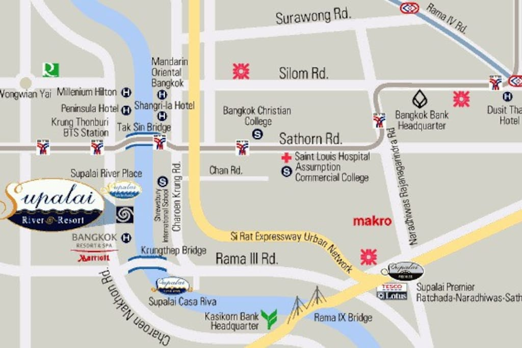 Map ,   choice 1 from BTS Station Krung Thonburi   you can tell taxi , at here is Soi 58/1 Charoen Nakhon  about 15 min+ -   and choice 2 from airport Don Muang or Suvarnabhumi  you can tell taxi , at here is Soi 58/1 Charoen Nakhon  about 50 min+ -