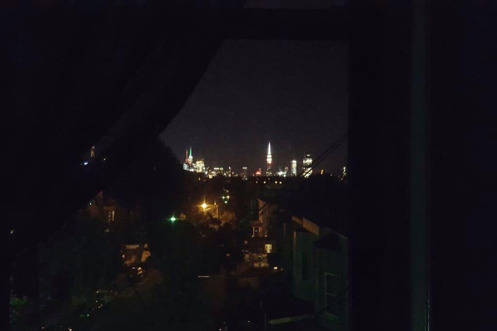 View of Manhattan through living room window