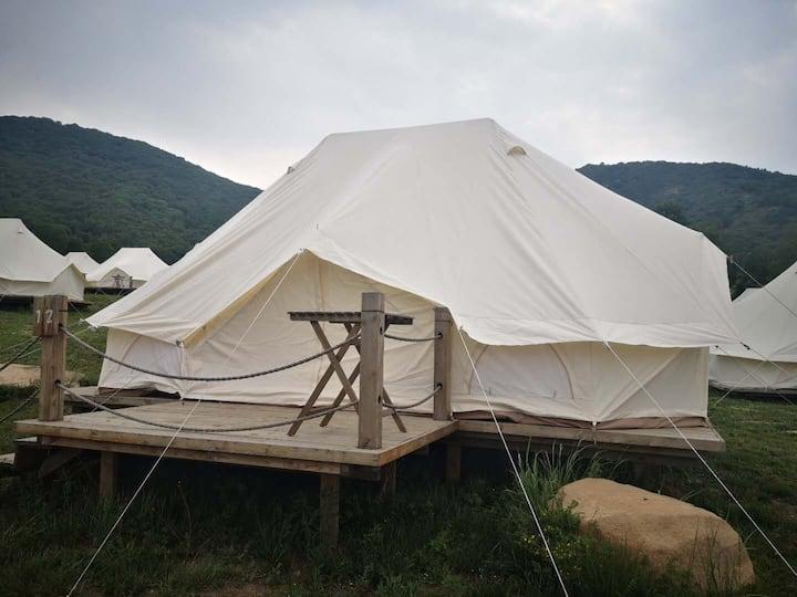 海坨山谷露营~帐篷营地 星空方顶帐篷