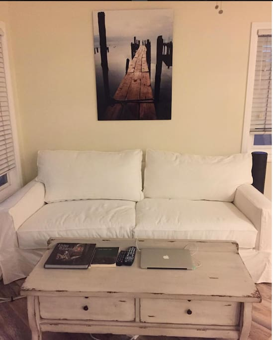 """Super amazing Potterybarn couch. 41"""" deep, take pillows off and it's like a twin bed!"""