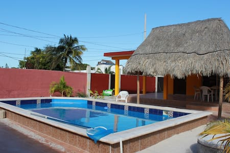 Large Chelem beach house with a large pool and AC