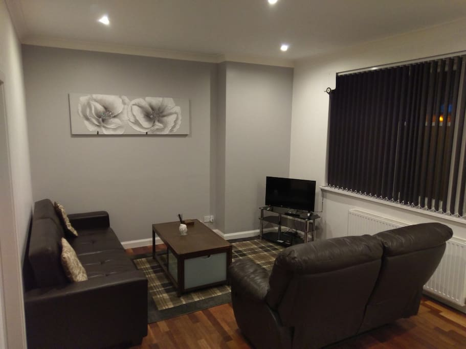 The lounge with a Freeview TV with built in DVD.