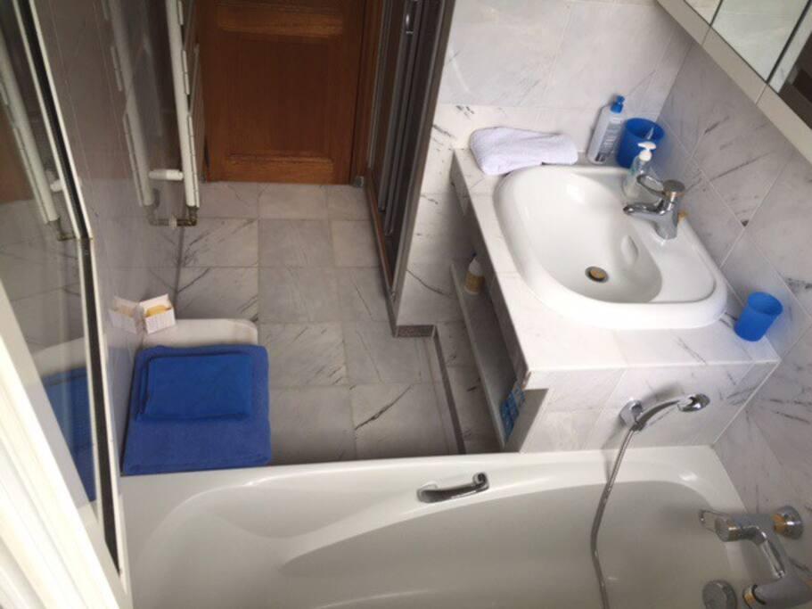 Salle d eau avec douche et baignoire