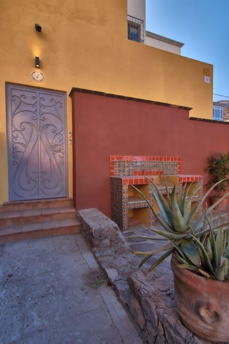 Front door to house
