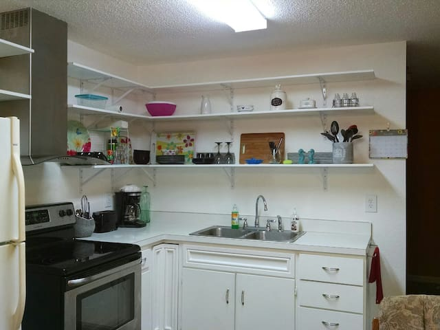 Kitchen ready for quick meals or family dinners when don't want to eat out.