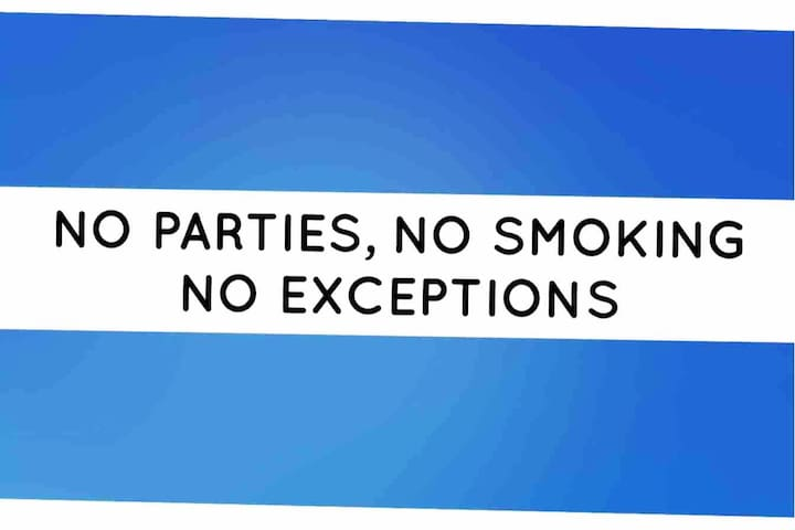 NO PARTIES,  NO SMOKING, NO PETS  NO EXCEPTION If you use the kitchen clean up after you and put the trash in the trash can And the cigarette in the ashtray
