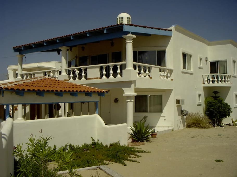 Beach side of the exterior of beach house