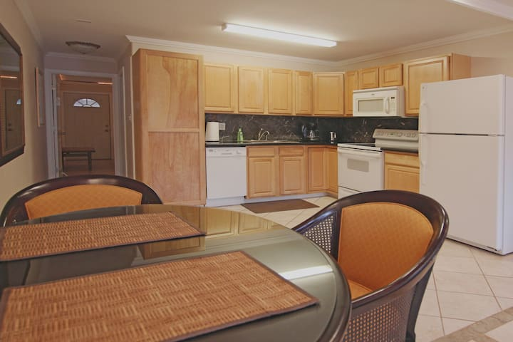 The full kitchen has granite countertops,  electric range with oven & stove, refrigerator, dishwasher, dinette with seating for two, toaster, coffee maker, blender, etc.