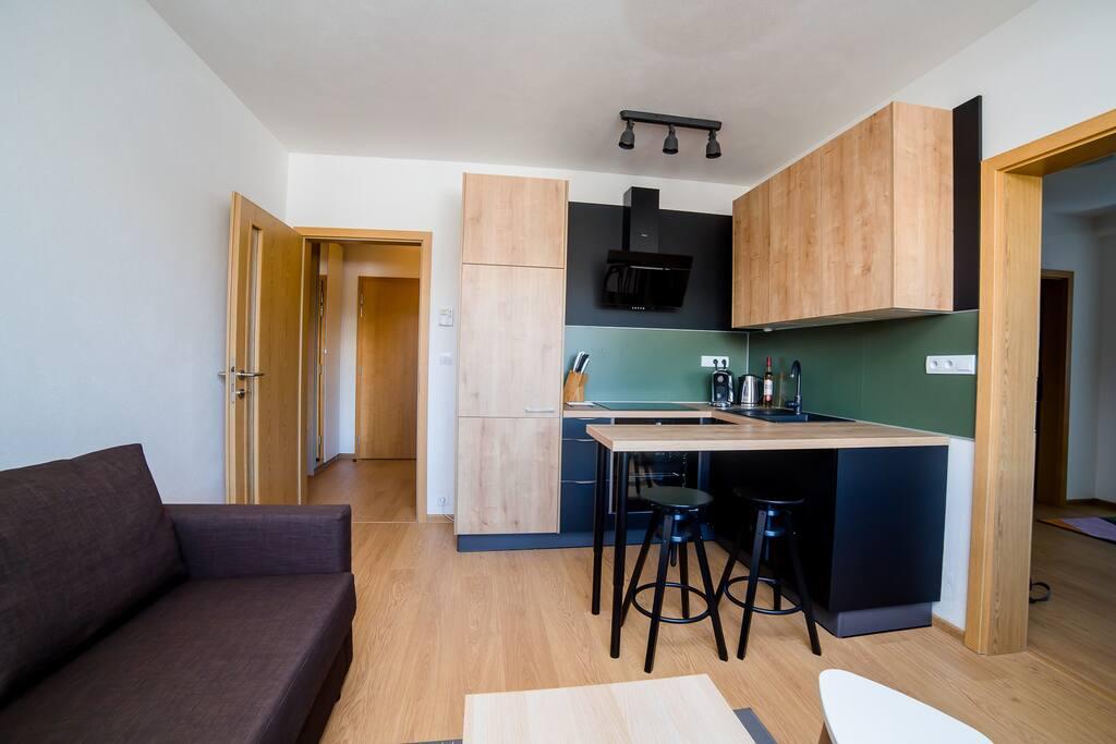 Kitchen nook + living room