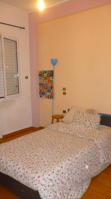 private room woth semi double bed, natural light and private small balcony