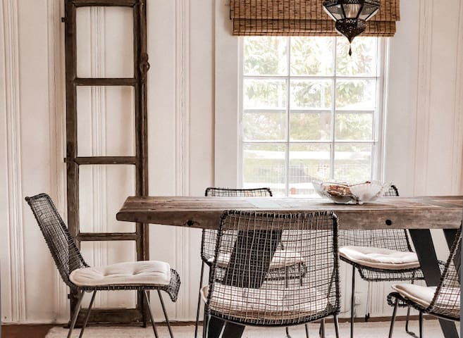 Dining table made from reclaimed telephone poles!
