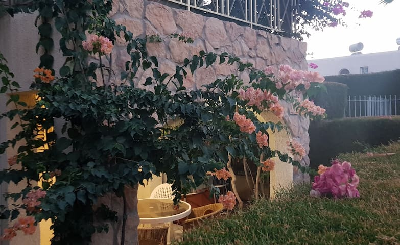 2 bdr flat with a private garden 200m from the sea