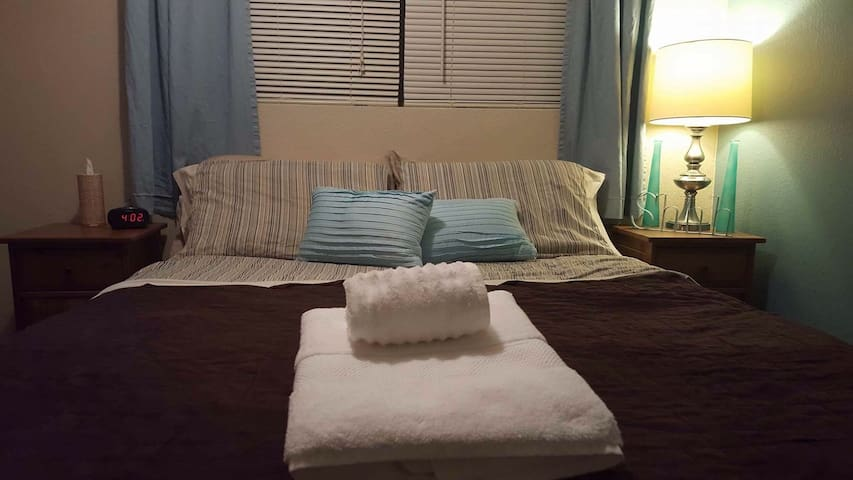 Comfy, queen size bed with extra pillows/sheets/blankets.