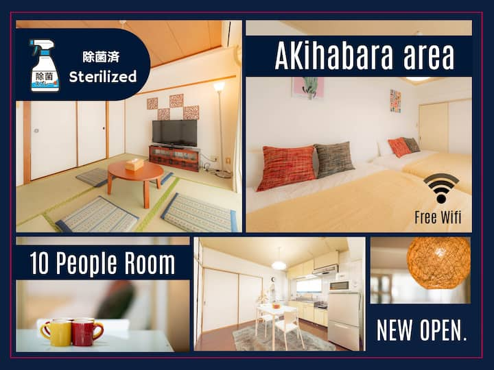 ▼Sterilized▼10 people▼5min to sta/2LDK Room/Wifi