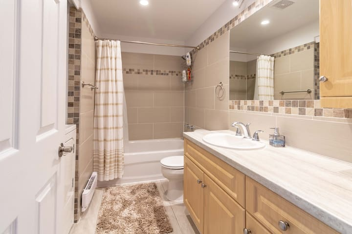 Beautiful Bathroom with washer/dryer inside