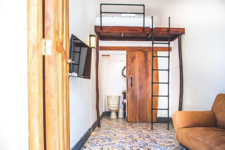Inside room, queen bed loft, private bathroom, walk-in shower, live-edge wood sliding door, sleeper sofa