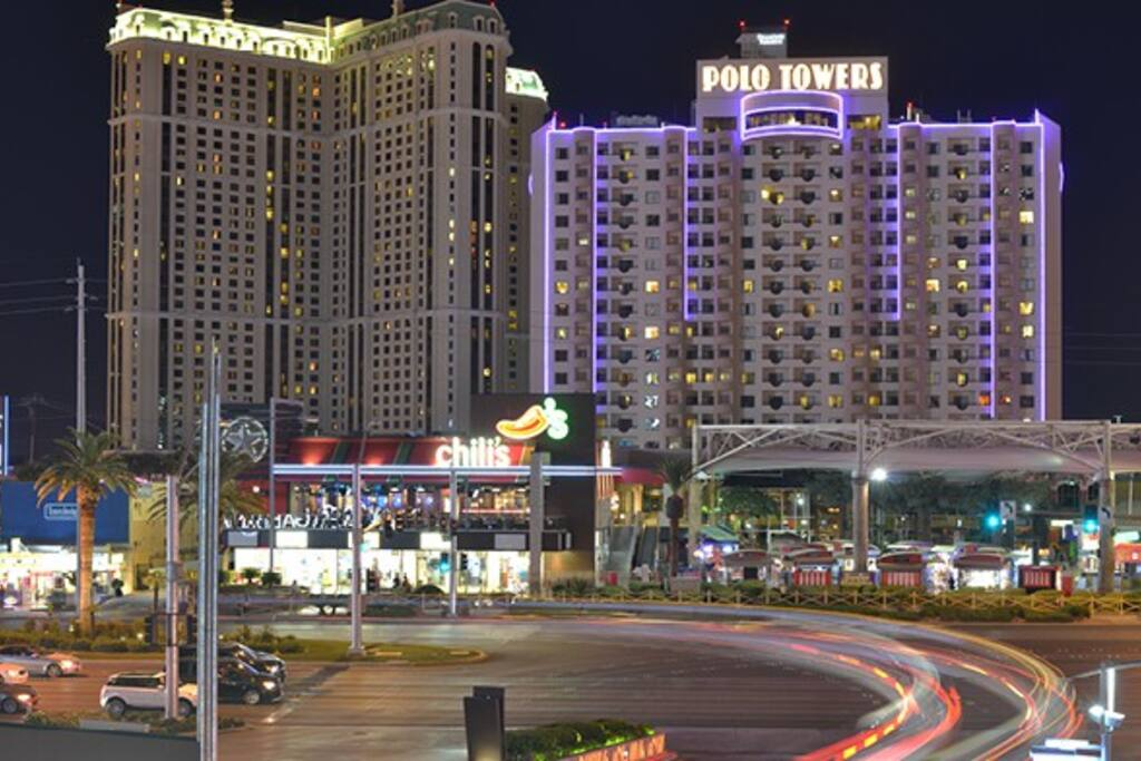 Polo Towers Suites (efficiency location) as seen at night