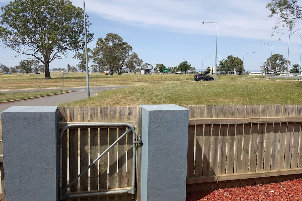 looking out the front door. 4min walk to three supermarkets, restaurants and cafes