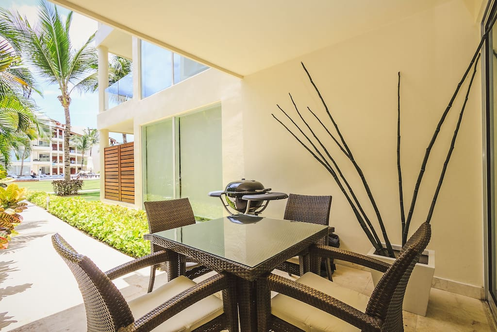 Your private patio with ping pong table, grill and patio table