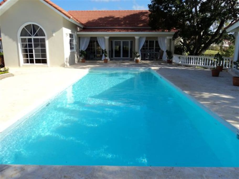 Villa Front View with 40 foot Tiled Private Pool with LED lighting