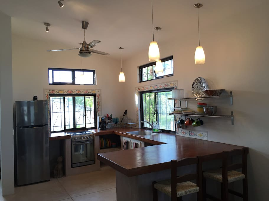The Kitchen with High Ceilings, lots of Light and Counter space, and everything you need to cook (if you want to).